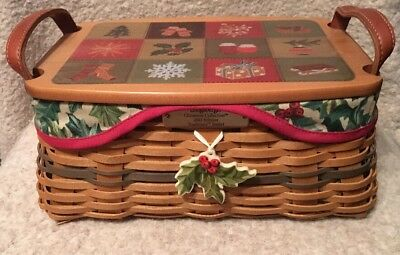 Longaberger Christmas Collection 2002 Ed. Traditions Basket Lid Liner Protector+