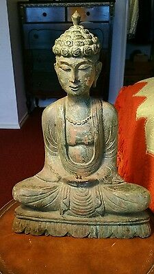 "Vintage Carved Wood museum quality piece Seated big Buddha 15.25"" High  statue"