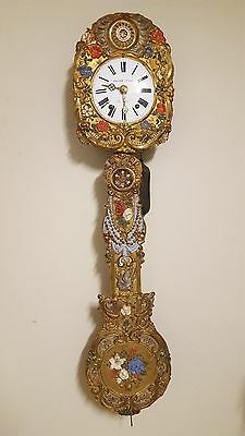 19th Century Antique French Hand Painted Brass Comtoise wall clock