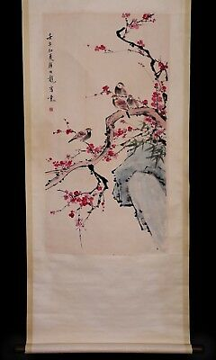 Old Long Chinese Handwork Landscape Scroll Hand Painting Mark YanBoLong KK758