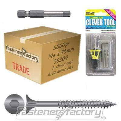 5000pc 14g x 75mm 304 Stainless Timber Decking Screw Clevertool Merbau Deck Pack