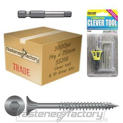 3000pc 14g x 75mm 316 Stainless Timber Decking Screw Clevertool Bundle Pack Deck