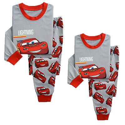 Cotton Kids Baby Boys Girls Cartoon Sleepwear Nightwear Pyjamas Pj's Outfit Set
