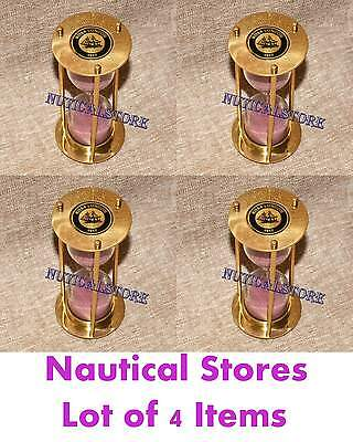 Brass Sand Timer Nautical Polish Finish Sand Timer with Pink Color Sand Hourglas