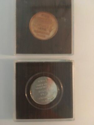 2 Fisher-Spassky coins from 1972 Iceland Match (one silver,one bronze