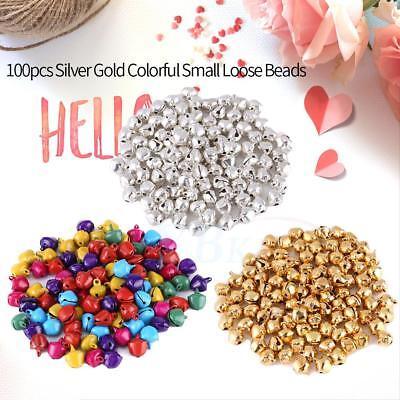 New 100PC Colorful Iron Beads Small Jingle Bells Craft DIY Jewelry Party Decor