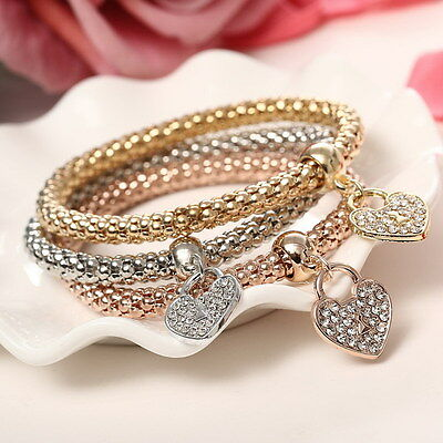 3pc/set Fashion Womens Jewelry Silver Gold Crystal Charm Bangle Pendant Bracelet