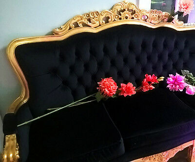 Vintage Antique Style Italian French Louis Gilded 4 Seater Sofa Lounge Chaise