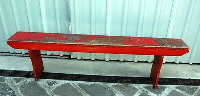 vintage red wooden bench seat
