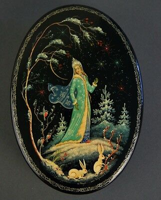 """1984 Vintage Signed Russian Lacquer Box from Kholui, USSR: """"SNOW MAIDEN"""""""
