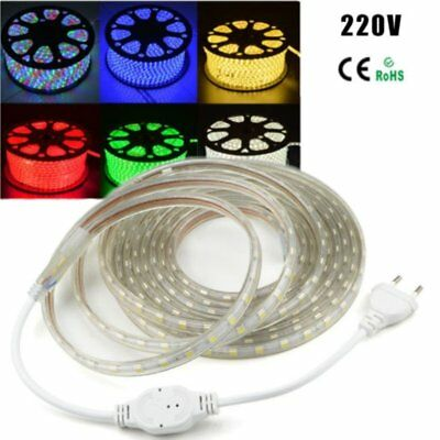 1m-20m Waterproof RGB Flexible LED Strip 220V SMD 5050 60 LEDs/M+ EU power cord