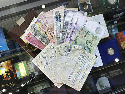 Mixed World Banknotes Paper Polymer Currency Canada Singapore Indonesia Italy 12