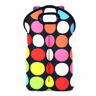 Wine Tote Bag 2-Bottle Carrier Neoprene Insulated Holder Picnic Travel Gift
