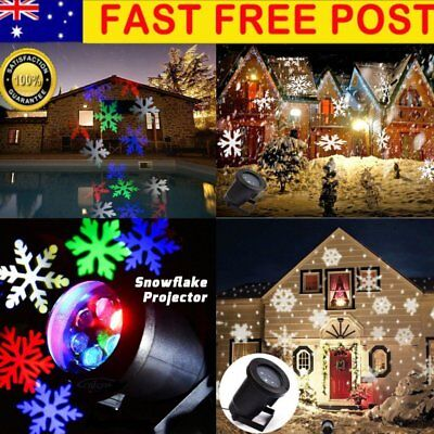 AU Outdoor LED Moving Snowflake Landscape Laser Projector Lamp Xmas Garden Light