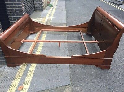 Beautiful Cherry Mahogany Lit Bateau Double Bed inc. custom Divan