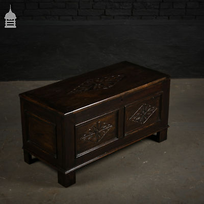 Early 20th C Oak Coffer with Carved Diamond Pattern