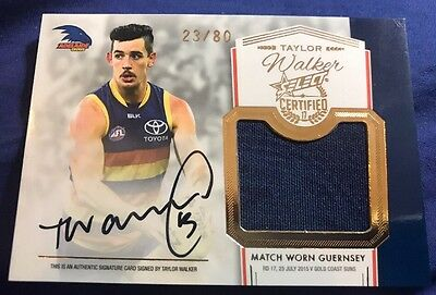 2017 AFL Select Certified Guernsey Match Worn Signature Redemption TAYLOR WALKER