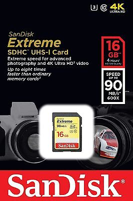 SanDisk SDHC 16GB Extreme SDHC Class 10 600X 90MB/s Read 40MB/s Write Card sm