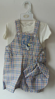 Boys Summer Shorts dungarees, t-shirt and cap, Brand new 12-18 months