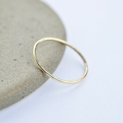 9ct Gold Hammered 1mm Skinny Band Ring   Handmade in UK   FREE Delivery