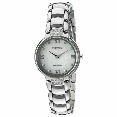 Citizen EX1460-55A Lady's Eco-Drive Silver Dial SS Diamond Watch