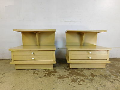 PAIR LOW LOW LOW Mid Century Modern Retro Profile Nightstands Tables by DIXIE