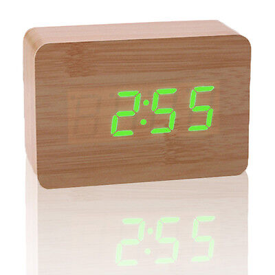 Wooden Rectangle Digital LED Desk Alarm Clock Room Timer Sound Control  Snooze