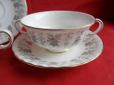 Minton, Alpine Spring, 2 x Soup Coupe & Stands REDUCED!