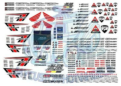 Mugen & Buddy Club [Honda] Waterslide Decals for Hot Wheels & 1:64 Model Cars