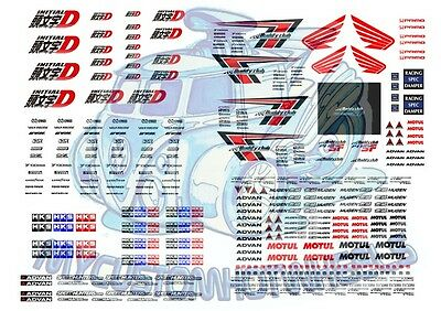 Initial-D & Buddy Club Racing - 1:64 scale Waterslide Decals for Hot Wheels