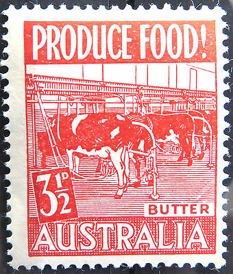 1953 Australian Pre Decimal Stamps: Food Production - Single - Red Butter MNH
