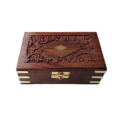 Floral Pattern Hand Carved Brass Engraved Rectangular Wooden Jewelry Box
