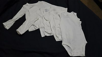 Lot Carter's White Layette 3 Month Bodysuit Long Short Sleeve Side Snap Shirts
