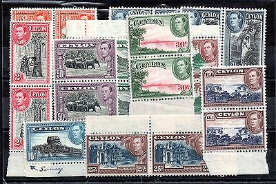 Ceylon KGVI mint pairs collection to 1R WS5536