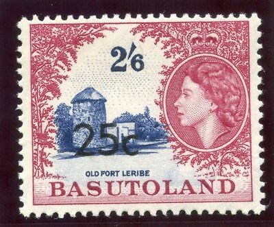 Basutoland 1961 QEII 25c on 2s 6d bright ultramarine & crimson-lake MNH. SG 66a.