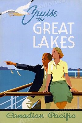 Cruise the Great Lakes 1930s Vintage Style Canadian Travel Poster - 20x30