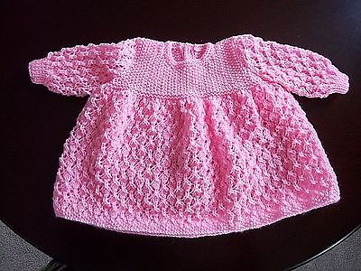 Hand Knitted Baby Dress - 0-4 Months - Girl - Pink