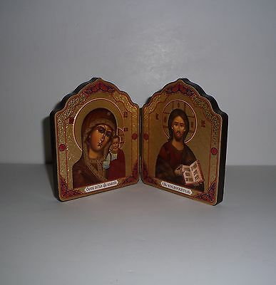 Vintage Orthodox Church Gold Color Foil Wood Travel Dyptich Icon