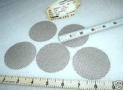 """micro screen mesh filters 5  each  2.5"""" Dia. x 0.020""""  stainless steel #14 Mesh"""