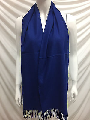 100% Cashmere Scarf Made In Scotland Plain Color Royal Blue Super Soft