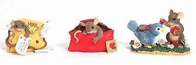 Charming Tails Lot of 3 Figures - Mouse Bird Mail Love Envelope Stamp