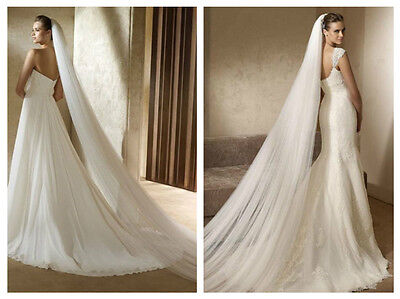 White Bridal Wedding Veil 1 Tier Cathedral Length with Comb Handmade