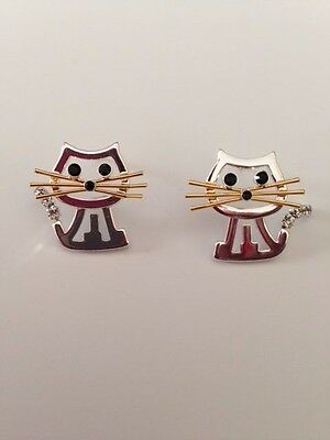 Cat Earrings Open Cut Design Clear stone wiggly tail Birthday Christmas Gift New