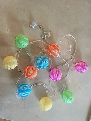 Multi-Colored Mini Paper Lantern String Lights Set of 10 Japanese Chinese