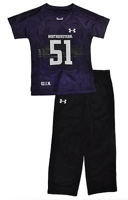 Under Armour Boys Purple Northwestern Jersey 2pc Pant Set Size 5