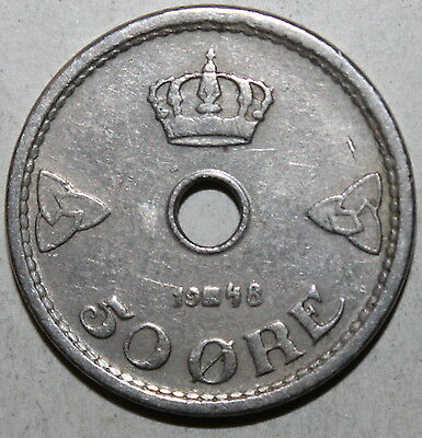 Norwegian 50 Ore Coin, 1948 - KM# 386 - Norway - Haakon VII - Fifty Øre Norge