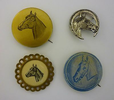 Vintage Horse Equestrian Pinback Pin - Lot of 4