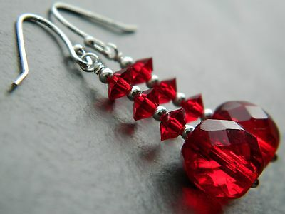 Art Deco Cherry Red Bi-Cone & Round Cut Glass Crystal Beads, 925 Silver Earrings