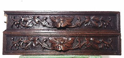 CARVED WOOD PANEL MATCHED PAIR ANTIQUE FRENCH OAK COUNTRY FARMHOUSE CARVING 19th
