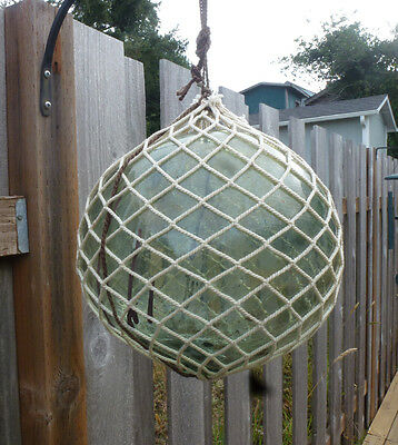 """Vtg Japanese Glass Fishing Float  38""""  Circumference Including Rope  """""""